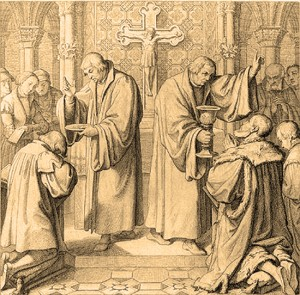 Luther, right, administers The Lord's Supper serving both the bread and the wine, a practice based upon Scripture.