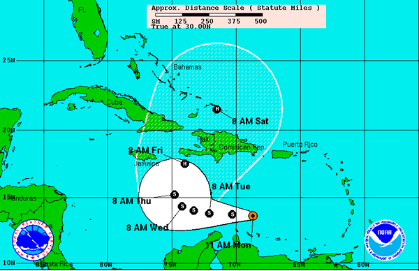 The path of Tropical Storm Tomas takes it over Haiti