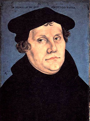 Martin Luther wearing a professor's cap