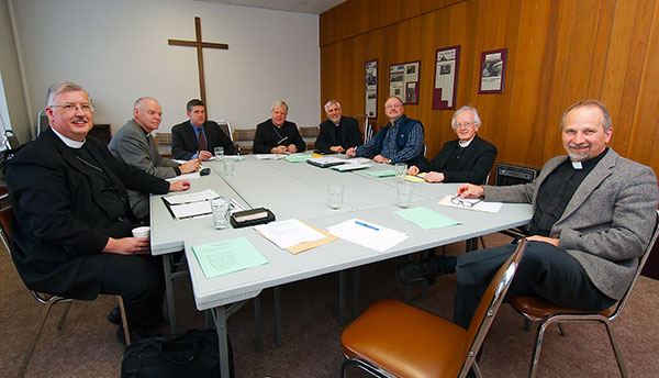 Participants of February's meeting between LCC and the CCCB (left to right): Rev. Nolan Astley, Rev. Timothy Scott, Dr. Michael Attridge, Bishop Gerard Bergie, Rev. Dr. Thomas Winger, Mr. Jonas Abromaitis, Rev. Dr. John Stephenson, Rev. Warren Hamp