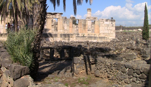 Ruins of Capernaum, with the remains of a fourth-century synagogue reassembled on the site of the synagogue Jesus preached in.