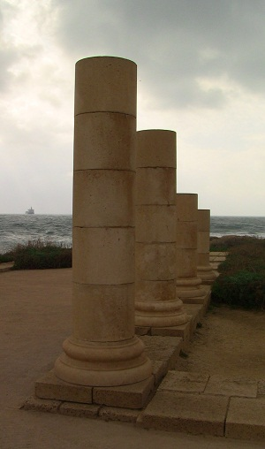 Columns marking the edge of the palace in Caesarea, overlooking the Mediteranean Sea.