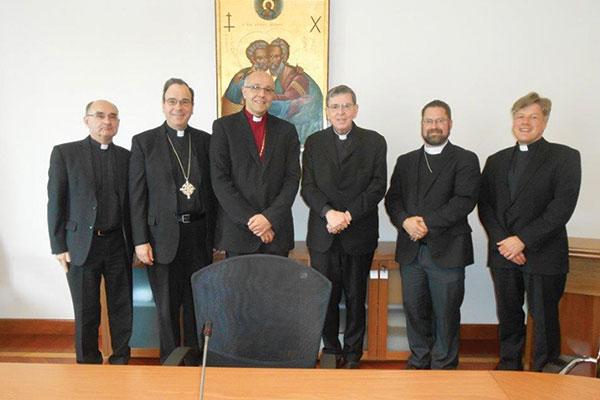 Prof. Dr. Werner Klan, Rev. Dr. Robert Bugbee, Bishop Hans-Jörg Voigt, Cardinal Kurt Koch, Rev. Dr. Albert B. Collver, and Monsignore Dr. Matthias Türk