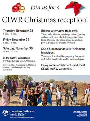 CLWR to host Christmas Reception, reports successful Sweaters for Syria campaign