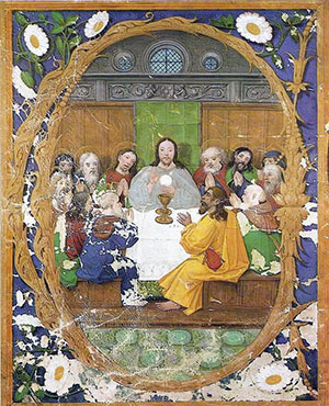 A painting of the Last Supper (and institution of Holy Communion) by 16th century artist Francisco de Holanda.