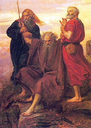 Aaron and Hur hold up Moses' hands. (John Everett Millais, 1871.)