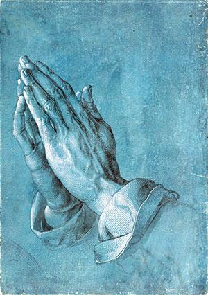 """Albrecht Dürer's classic """"Praying Hands"""" image (c. 1508)."""