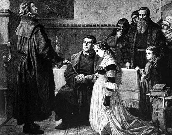 Martin Luther and Katharina von Bora marry. (Image from Die Gartenlaube, 1872).