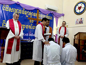 Two new pastors are ordained for service in the Evangelical Lutheran Church in Cambodia.