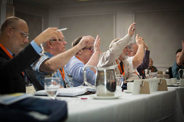 Delegates vote during the East District 2015 convention (Photo: Chris Bruer).