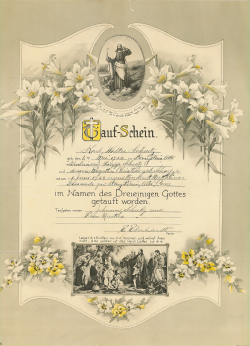 Carl's baptismal certificate, dated June 1924.