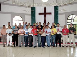 Nicaraguan students pose with their personal copies of the Greek New Testament.