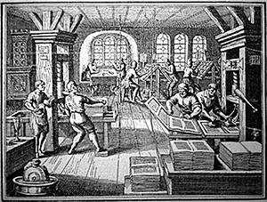 A 16th century German printing press at work.