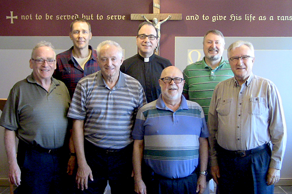 The CCMS' committee on restructuring, left to right: Gary Gilmore, Rev. Dr. Harold Ristau (advisory), Herb Doering, President Robert Bugbee, Rev. Dennis Putzman, Rev. Paul Schallhorn, and Rev. William Ney. Missing are Deacon Jennifer Frim and Marilyn Schulz.