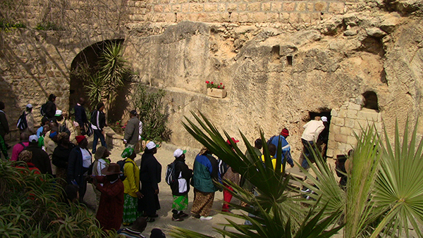African pilgrims visit the Garden Tomb in Jerusalem.