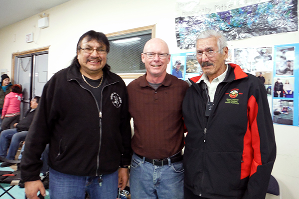 LAMP is involved in reconciliation work in First Nations communities in Canada's north. In this photo LAMP Pastor-Pilot Dennis Ouellette poses with community leaders Chief Titus Tait and Rev. Solomon Beardy during a recent trip to Sachigo Lake.