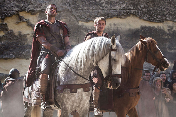 Ralph Fiennes stars as Clavius (left) alongside Tom Felton (as Lucius) of Harry Potter fame.