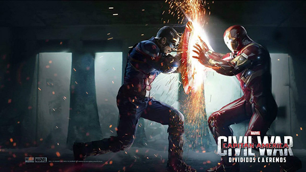 Captain America and Iron Man fight.