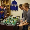 Playing a little foosball during the weekend retreat.