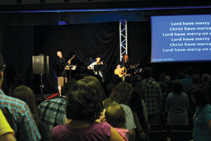 LCC musicians lead the gathering in song during worship.