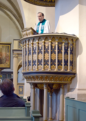 "President Bugbee preaches in Wittenberg's old Town Church, frequently referred to as ""the mother church"" of the Reformation."