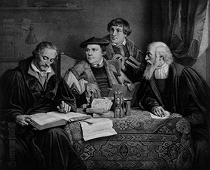 An artist's rendition of the Reformers translating the Bible. From left to right are Philip Melanchthon, Martin Luther, Johann Bugenhagen, and Kaspar Cruciger.