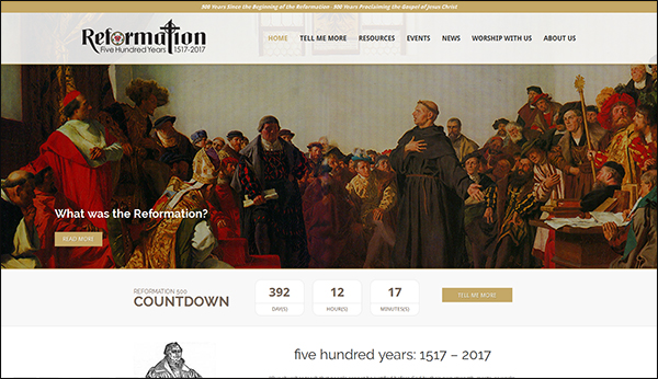 LCC's new anniversary of the Reformation website.