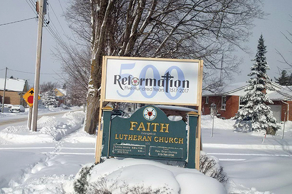 Faith Lutheran (Desboro) declares the 500th anniversary of the Reformation for all to see.