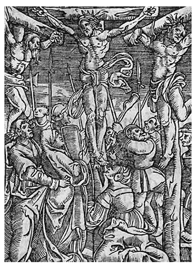 The crucifixion of Christ . Woodcut from the 1558 edition of Luther's Small Catechism.