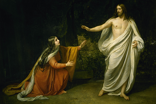 Jesus appears to Mary Magdalene following the resurrection.