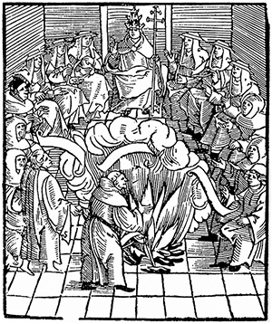 Pope Leo X officiates at a 1521 burning of Luther's works. (Late 18th century woodcut)