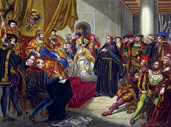 Luther at Worms (19th century coloured engraving after Emil Jacobs).